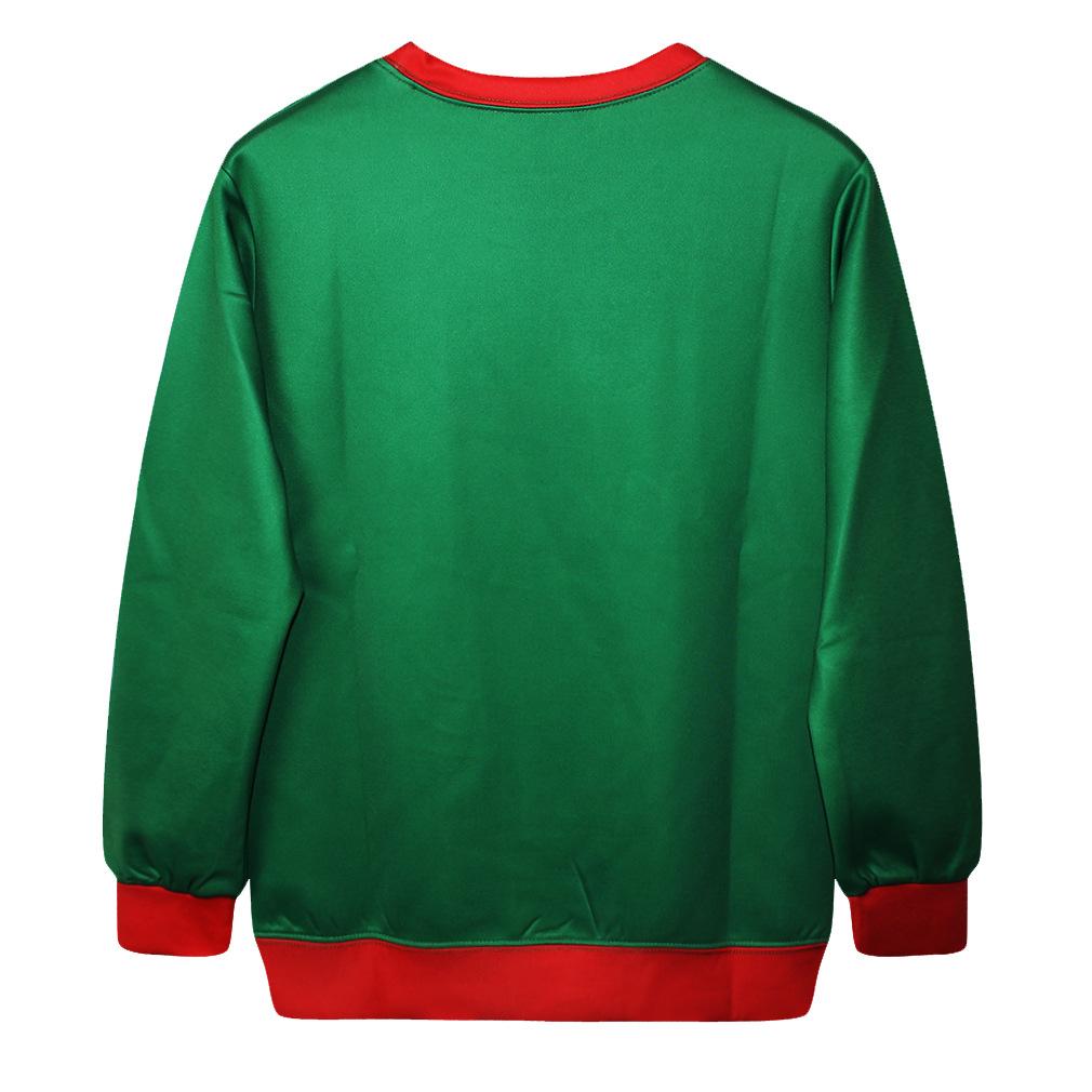 Fashion Casual Santa Claus Print Green Polyester Long ...
