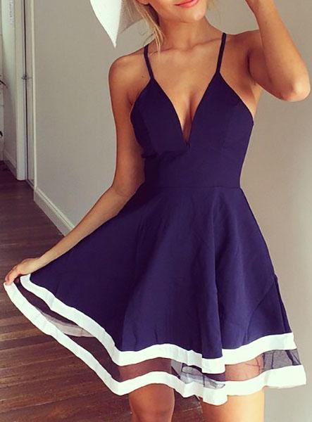 Sexy V Neck Spaghetti Strap Sleeveless Organza Patchwork Blue A Line Mini Dress