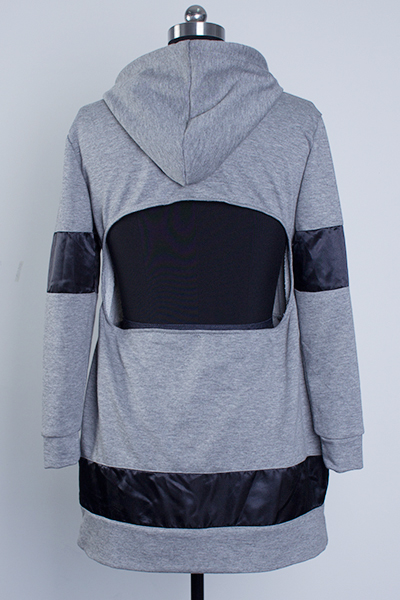 Casual Hooded Long Sleeves Hollow-out Design Grey Cotton Blend Sheath Mini Dress