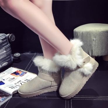 Invierno Moda Redonda Toe Slip Hebilla Correa Flat Low Heel Beige PU Short Snow Boots