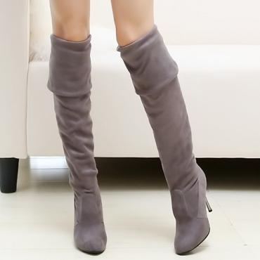 зимней моды раунд скольжения пальца ноги на высокой пятки шпильках серой замшей над коленом кавалер сапоги
