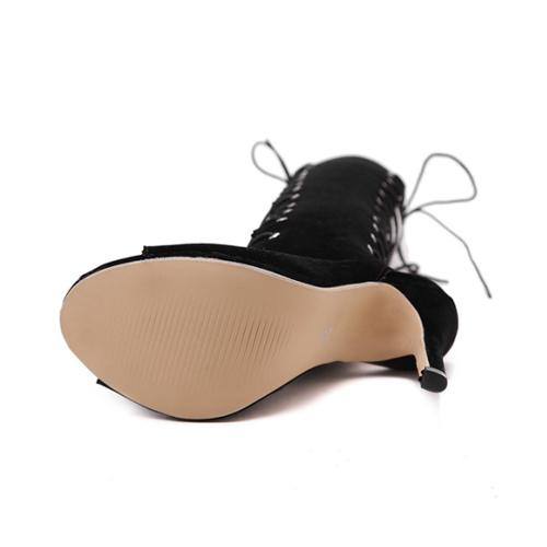 Primavera Outono rodada peep toe zipper design laço até stiletto super salto alto preto camurça joelho alto sandálias