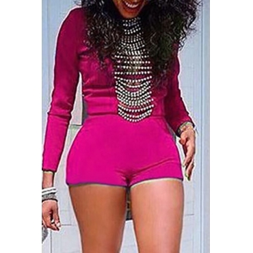 Fashion O Neck Long Sleeves High Waist Red Polyester Skinny Jumpsuit(Without Accessories)