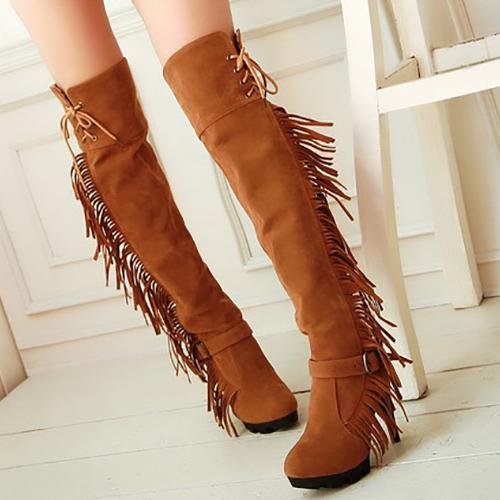 Fashion Winter Round Toe Stiletto Super High  Heels Yellow PU Slip On Over the Knee Tassel  Boots