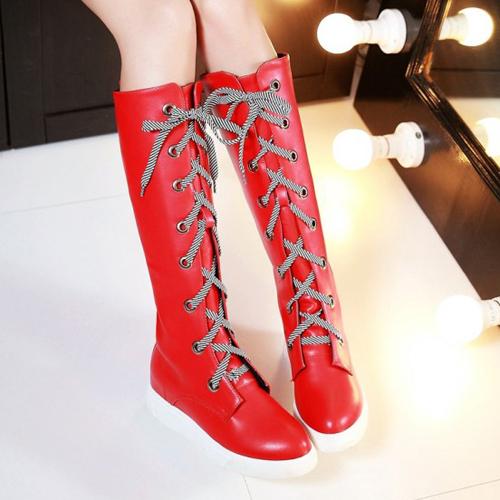 Moda Primavera Otoño Ronda del dedo del pie ata para arriba plana talón bajo rojo de la PU Rodilla Botas Altas