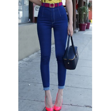 Casual High Waist Button Fly Design Solid Blue Cotton Blend Skinny Pants