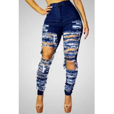 Stylish High-Waisted Hollow-out Design Blue Denim Jeans