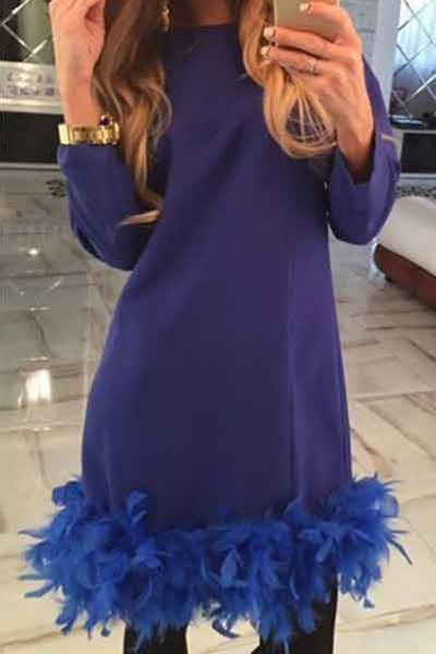 Fashion O Neck Long Sleeves Fur Design Blue Polyester Sheath Mini Dress
