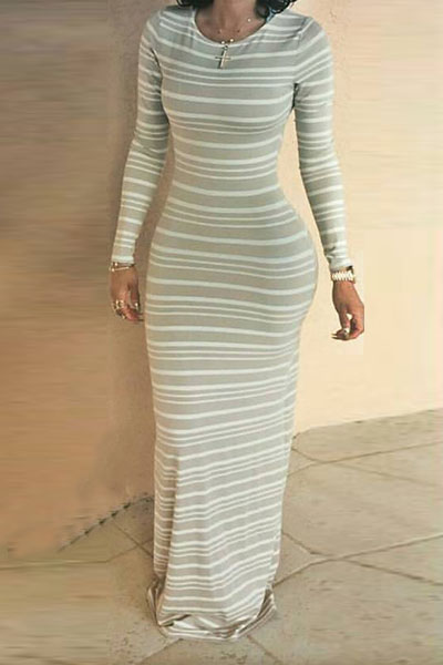 Simple O Neck Long Sleeves Striped Cotton Blend Sheath Ankle Length Dress