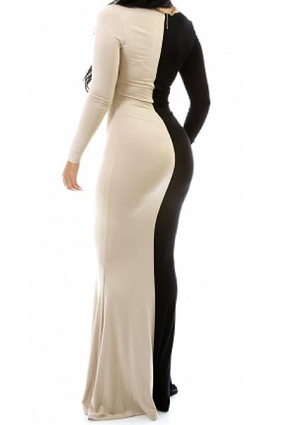 Fashion V Neck Long Sleeves Patchwork Black-apricot Cotton Blend Sheath Ankle Length Dress