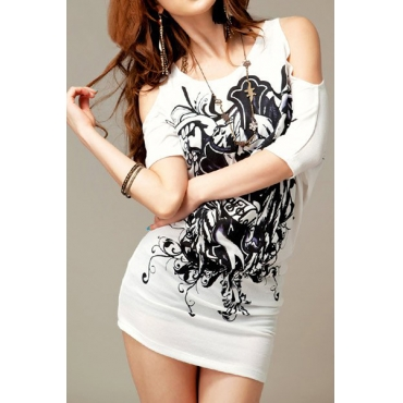 Fashion Woman O Neck Short Sleeve Floral White Cotton T-Shirt