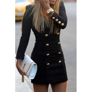 Cheap Fashion Long Sleeve Double-breasted Black Woolen Long Trench Coat