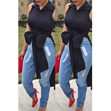 Fashion Sexy V Neck Long Sleeves Black Polyester  Mini Women Dress