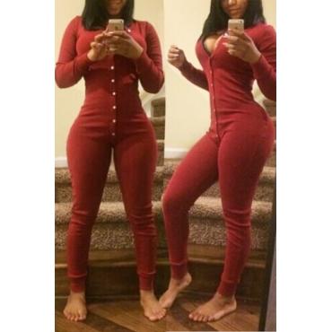 Magro V Neck mangas compridas Single-breasted Vermelho mistura de algodão de uma peça magro Jumpsuit