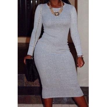 Trendy Round Kragen mit langen Ärmeln Grau Polyester Hüllen-Minikleid