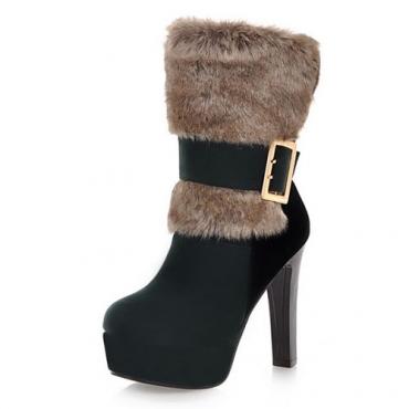 Ronda del dedo del pie de la moda de invierno sin cordones Hebilla Chunky del alto talón de la PU Verde Corto Martin Botas