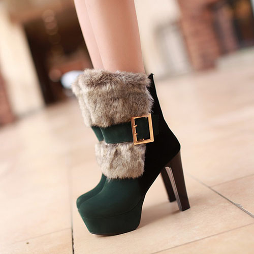 Rodada Moda Inverno Toe Slip On Buckle Chunky Super High Heel verde PU Curto Martin Botas