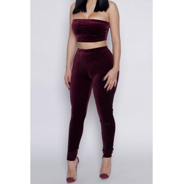 Solid Color Bateau Neck Sleeveless Wine Red Two-piece Pants Set