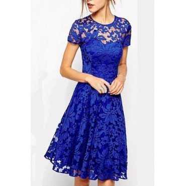 Trendy O Neck Cap Sleeve Short Sleeves Lace Patchwork Blue A Line Knee Length Dress
