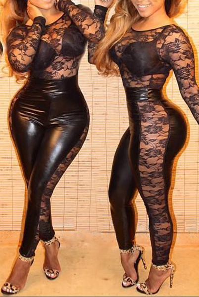 Sexy Lace Spliced PU Leather Round Neck Long Sleeve Jumpsuit For Women