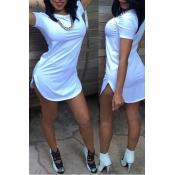 Cheap Fashion O Neck Short Sleeves White Cotton Blend Sheath Mini Dress