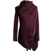 Fashion Turtleneck Long Sleeves Wine Red Woolen Overcoat