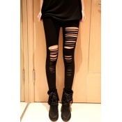 Stylish Mid Waist Hollow-out Black Polyester Leggi