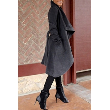 Trendy Turndown Collar Long Sleeves Black Long Wool Coat