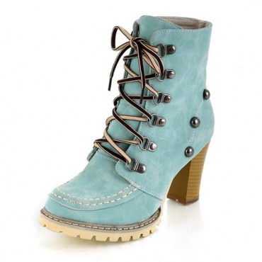 Invierno ronda Toe remaches cordón grueso tacón alto gamuza azul corto Martens botas