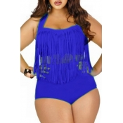 Sexy Plus Size Front Tassels Embellished Blue Swimsuit