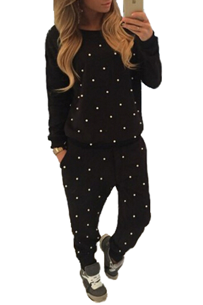 Casual O Neck Long Sleeves Beaded Solid Black Blending Two-piece Pants Set