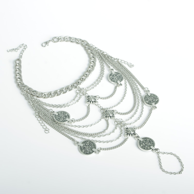 Bohemia Coin-Shaped Tassel Style Silver Metal Body Chain