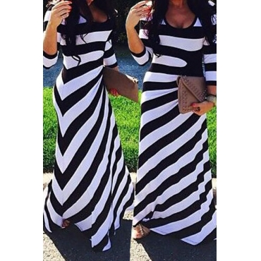 Casual O Neck Three Quarter Sleeve Striped Cotton Blend gaine longueur cheville robe