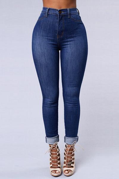 Trendy Mid Waist Button Fly Blue Denim Skinny Jeans