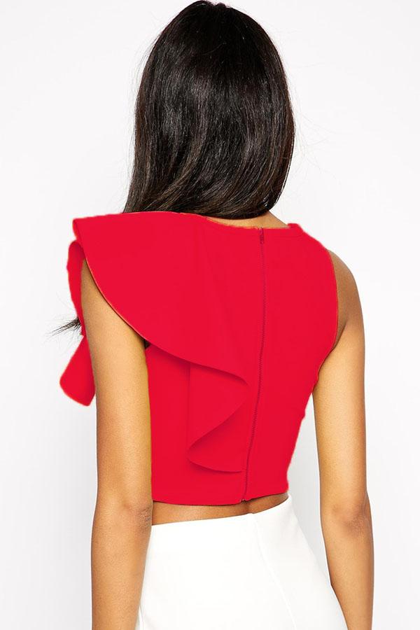 Elegante o collo senza maniche falbala design di colore for Piani di casa a buon mercato