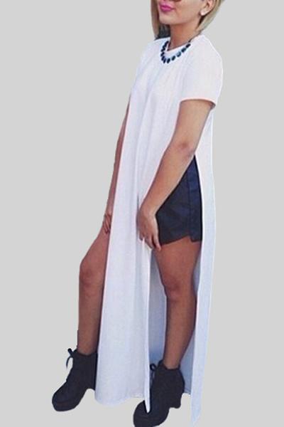 Fashion O Neck Short Sleeve Ankle Length White Cotton Dress
