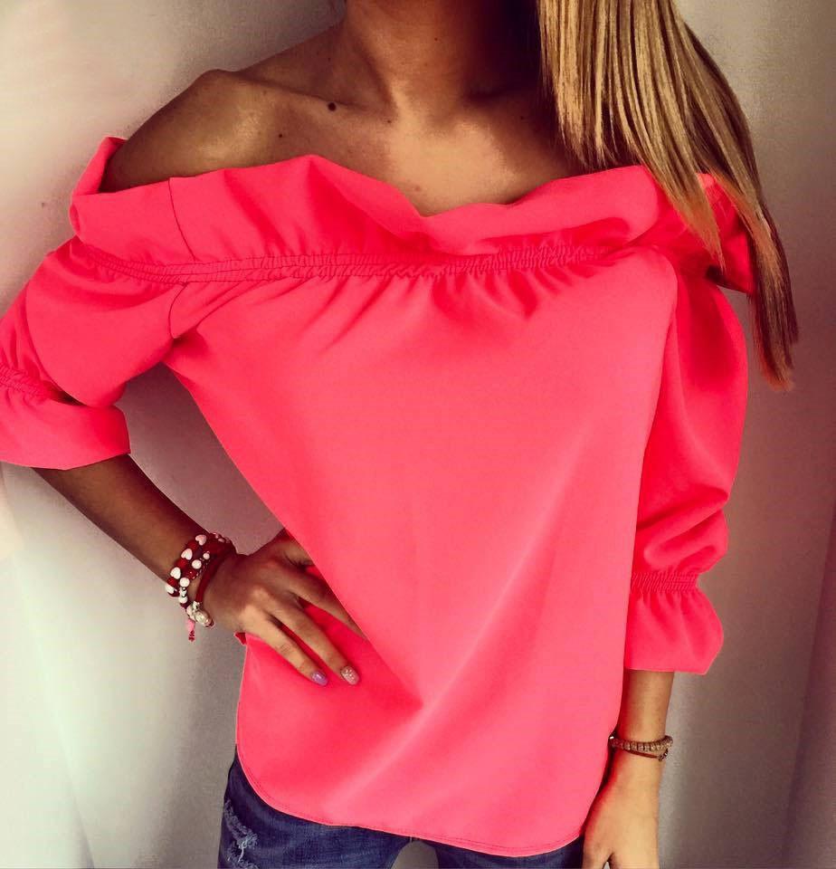 Stylish Bateau Neck Three Quarter Sleeves Falbala Design Rose Red Polyester Pullover