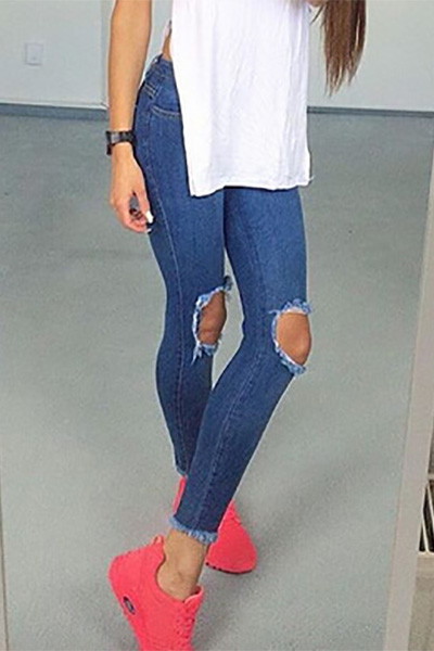 Trendy High Waist Broken Holes Blue Cotton Blends Skinny Pants