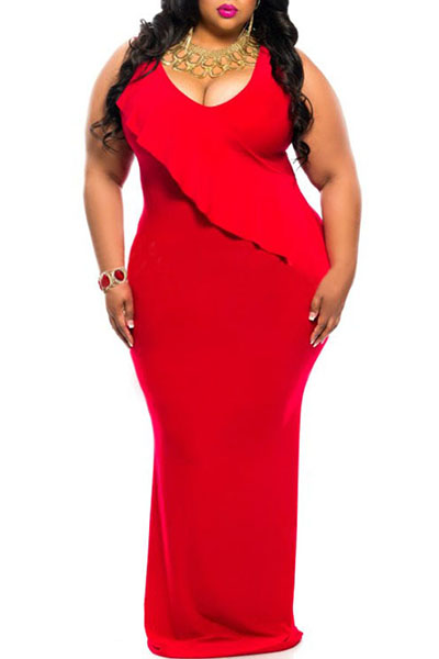 Trendy V Neck Tank Sleeveless Falbala Design Red Polyester Sheath Ankle Length Dress