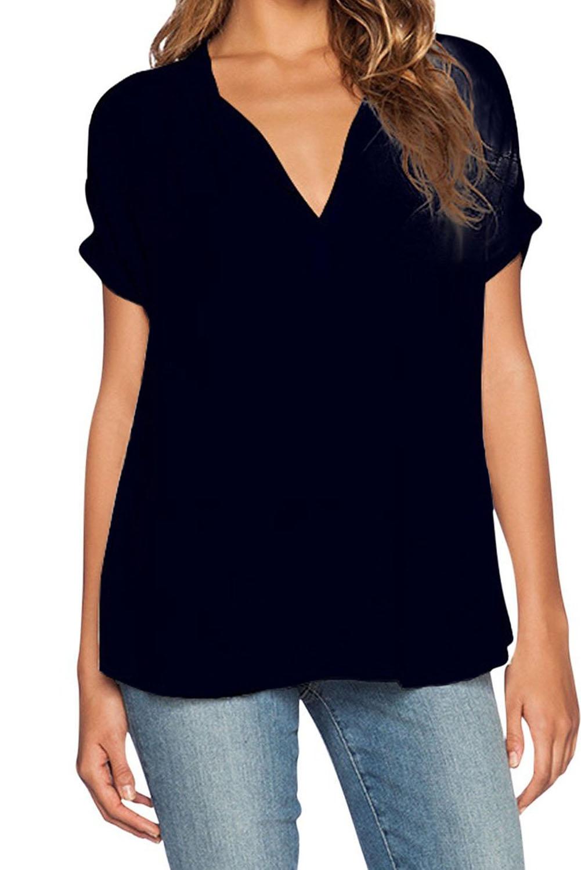 Simple v neck short sleeves asymmetrical black polyester for Short sleeve shirt for women