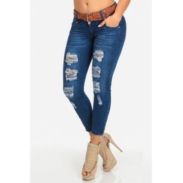 Trendy mit hoher Taille Gebrochene Holes Blaue Denim dünne Jeans (ohne Gurt)