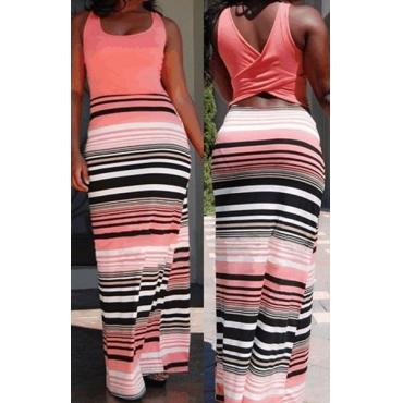 Bohemian U Neck Tank Sleeveless Back Cut-out Patchwork Striped Cotton Blend Sheath Ankle Length Dress