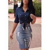 Stylish High Waist Broken Holes Blue Polyester Sheath Knee Length Skirts