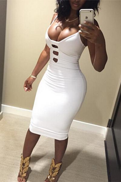 Sexy Scollo a V della cinghia di spaghetti senza maniche in cotone bianco del ginocchio del fodero di lunghezza del vestito delle donne