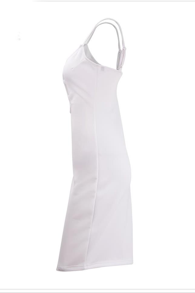 V sexy pescoço Spaghetti Strap algodão branco sem mangas bainha joelho comprimento vestido das mulheres