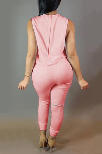 Na moda em torno do pescoço sem mangas Zipper projeto cordão Rosa de poliéster Macacões de uma peça