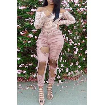 Модные Высокая талия Большие Сломанные Дыры Дизайн Розовый джинсовой тощие брюки