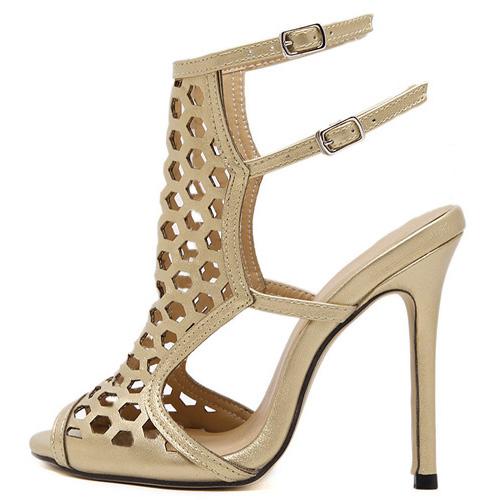 Модные Open Toe полым из Stiletto Супер Высокий каблук золота PU сандалии