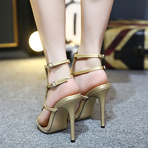 Trendy  Open Toe Hollow-out Stiletto Super High Heel Gold PU Sandals