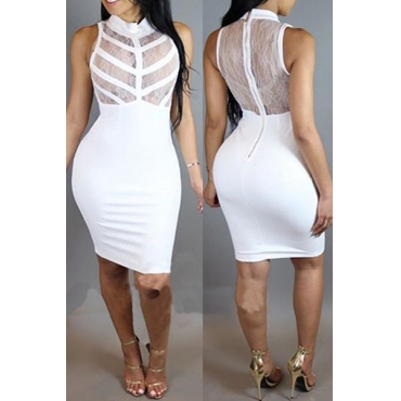 Qmilch Sexy Turtleneck Tank Sleeveless Sheath Knee Length Dresses